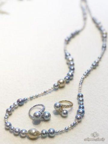 和珠ナチュラルカラーと南洋真珠をミックスしてお作りしたデザインネックレス